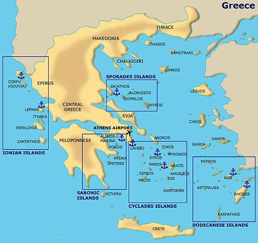 carte itinéraire croisère grèce